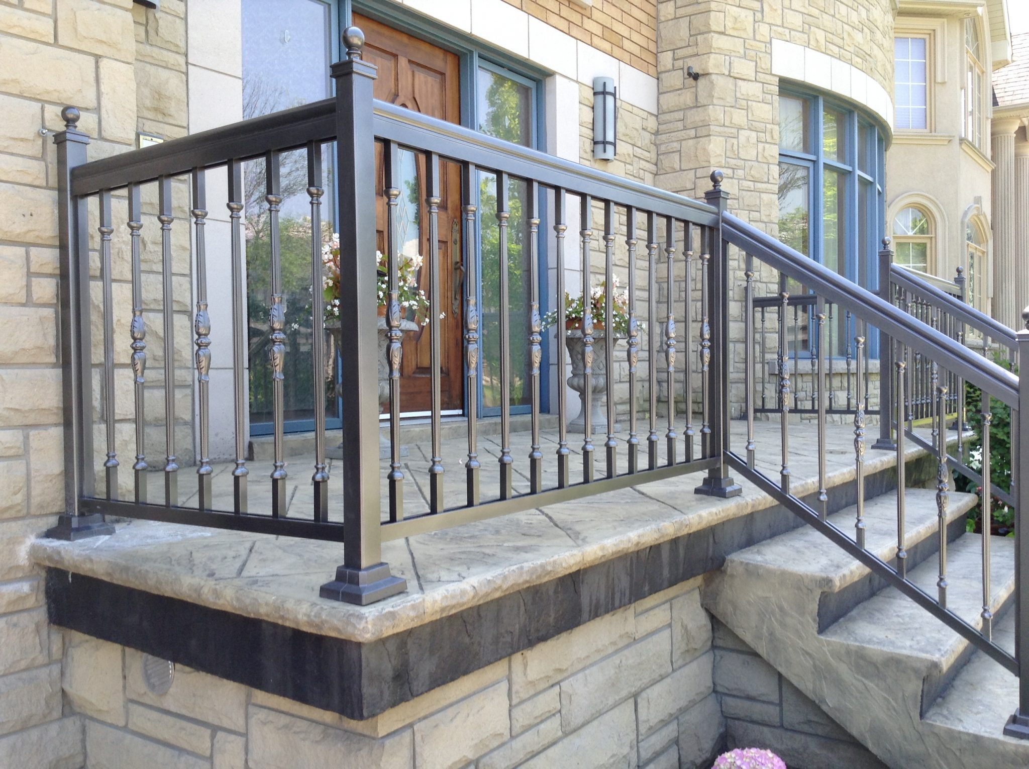 Aluminum rail on front porch