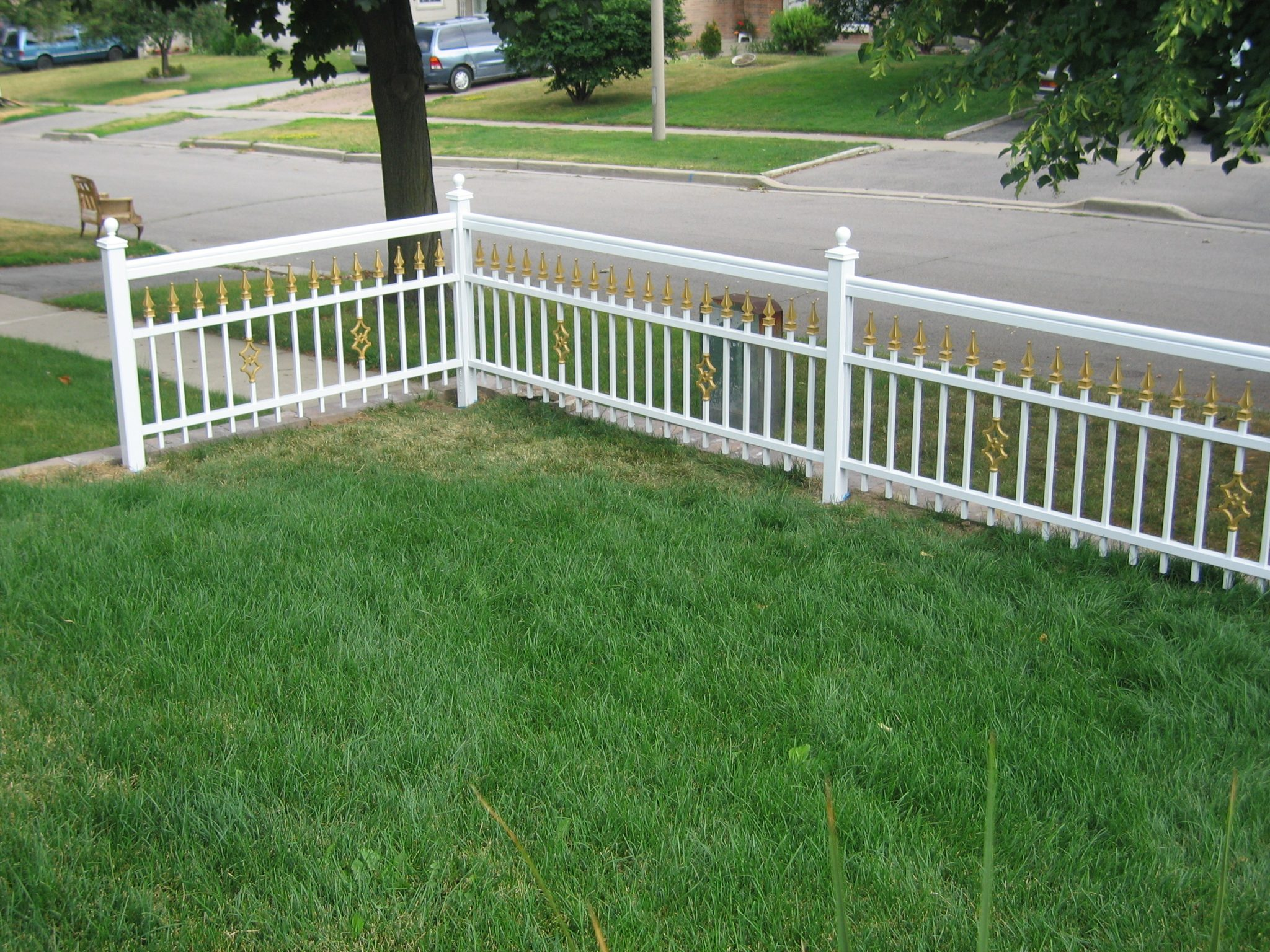 Frame fence with gold trim