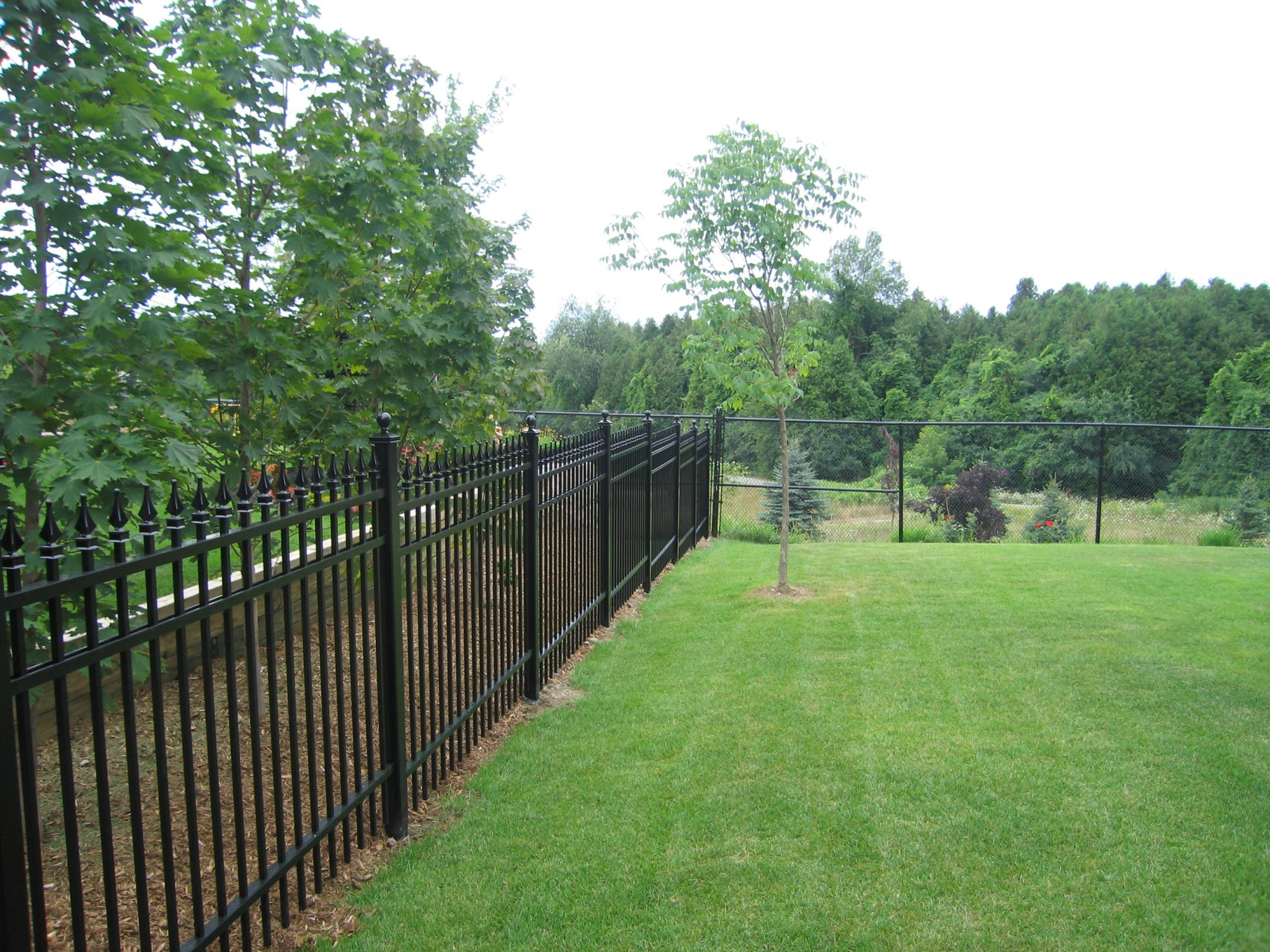 Long black yard fencing.