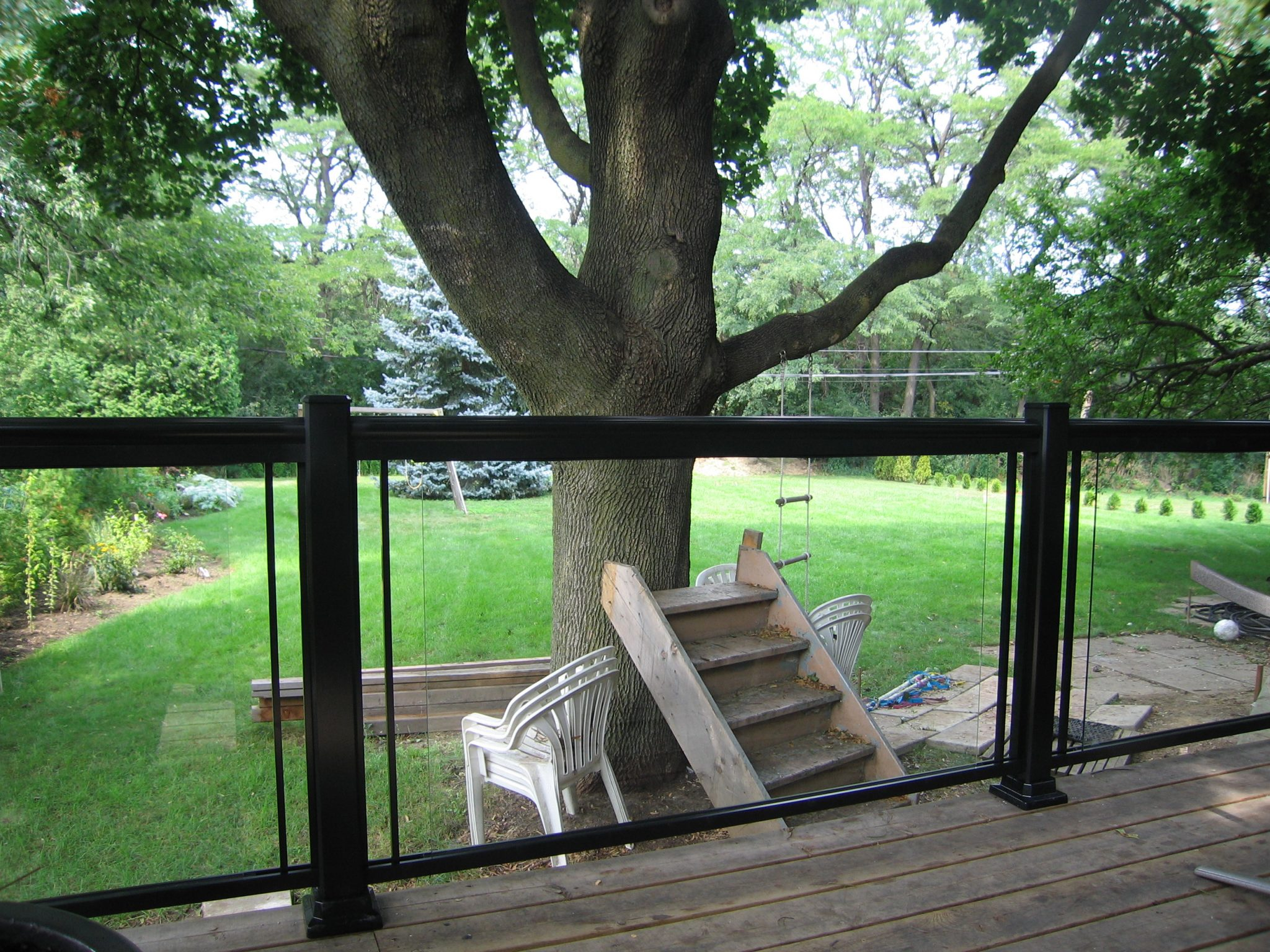 Backyard with large tree