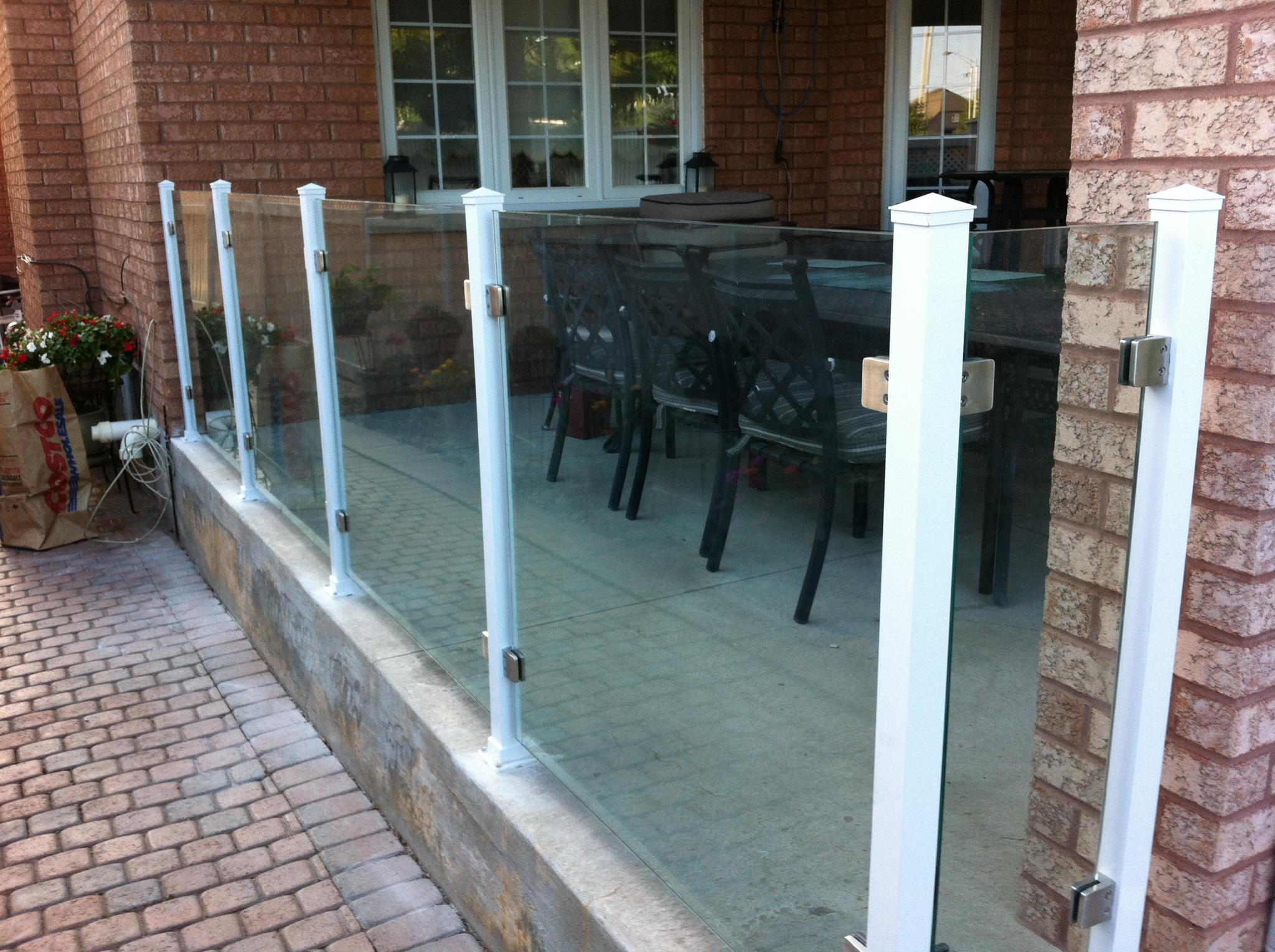 Porch railings of glass