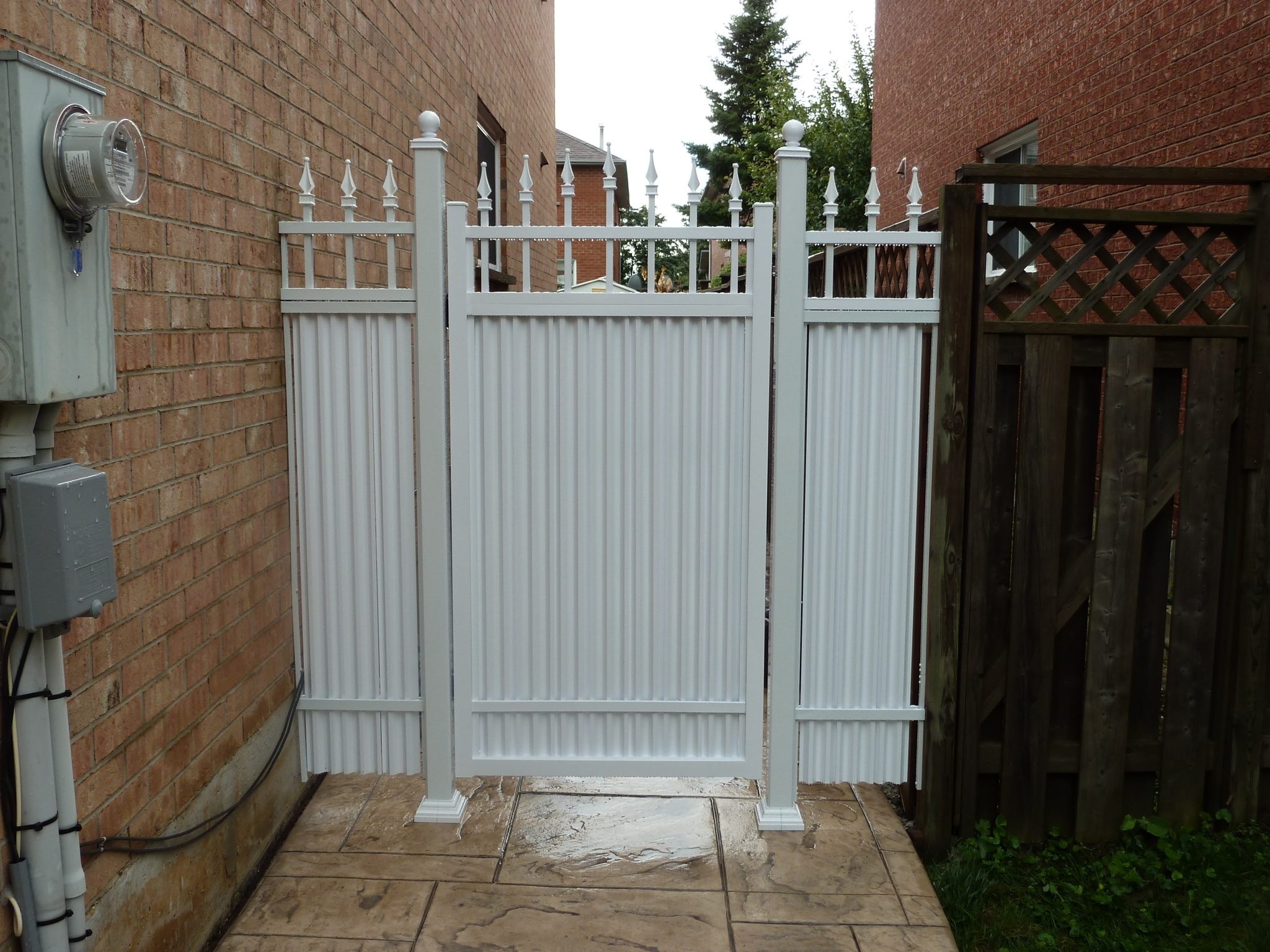 White metal gate.