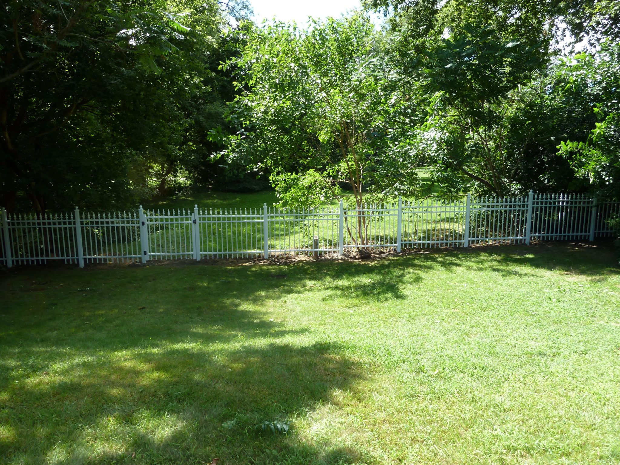 Yard with picket fence