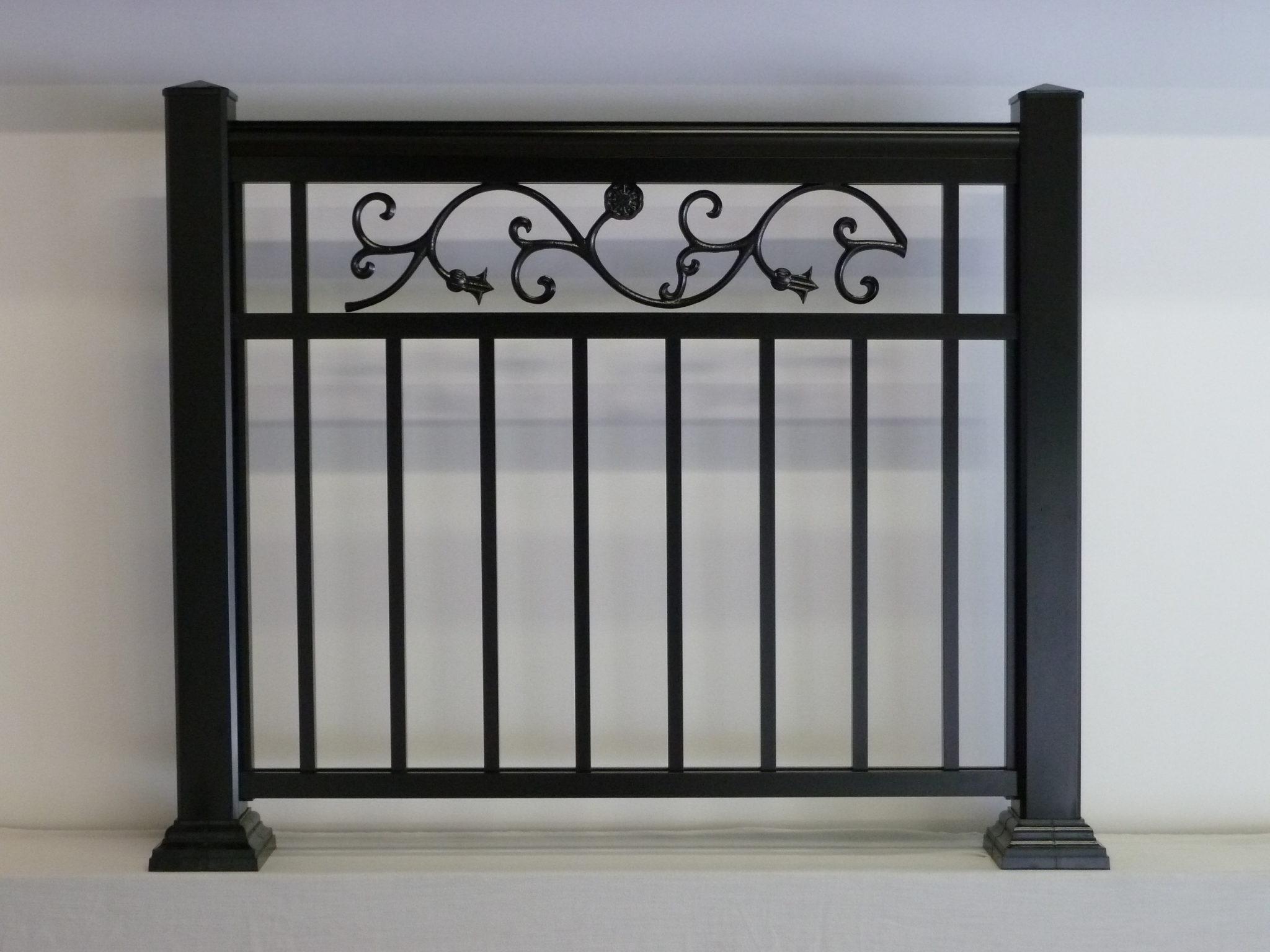 Large leaf design pattern on aluminum railings