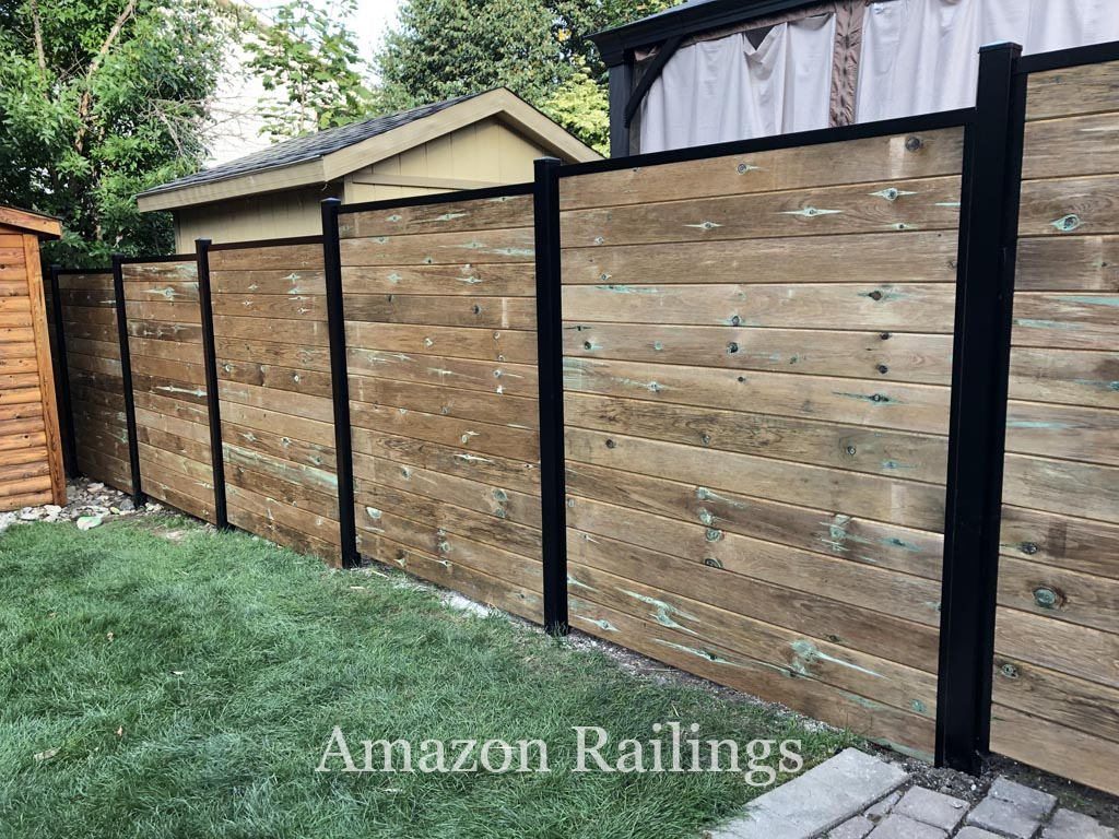 Natural Wood Fence Panels with Aluminum Post for Homes