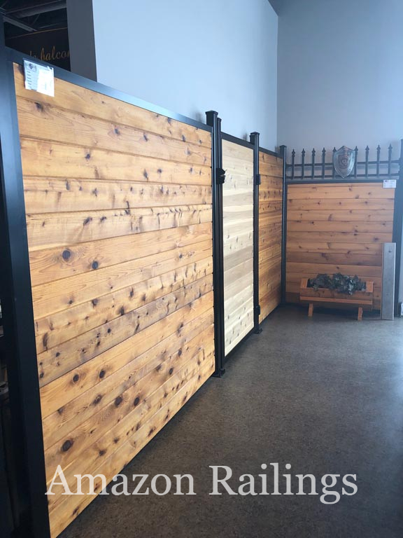 Privacy Fence with Gate Made Using Wood & Aluminum Post