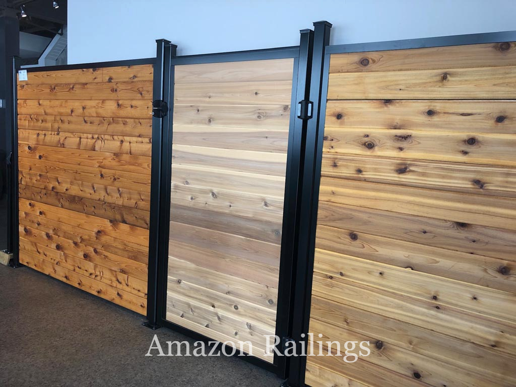 Natural Wood Privacy Fence with Gate for Homes
